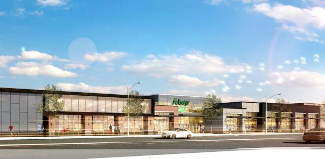Looking southwest to the new Sobeys proposed at 1061 The Queensway, Toronto