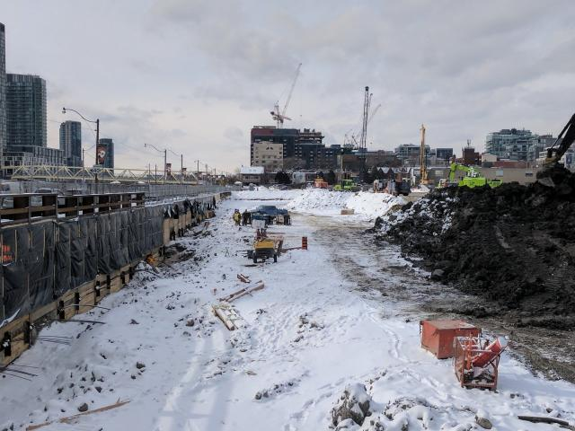 Excavating The Well site, looking West from Spadina Avenue, image courtesy of fo