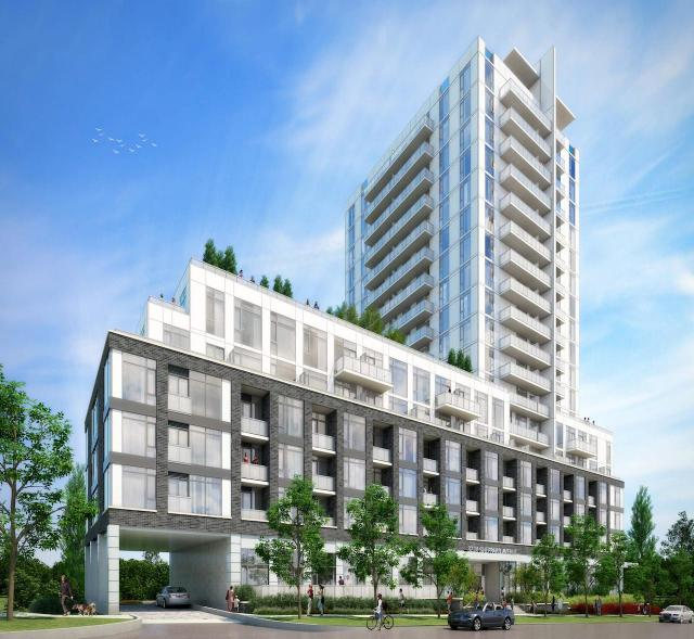 Looking northeast to East 3220 Condos on Sheppard, designed by Burka and KFA for