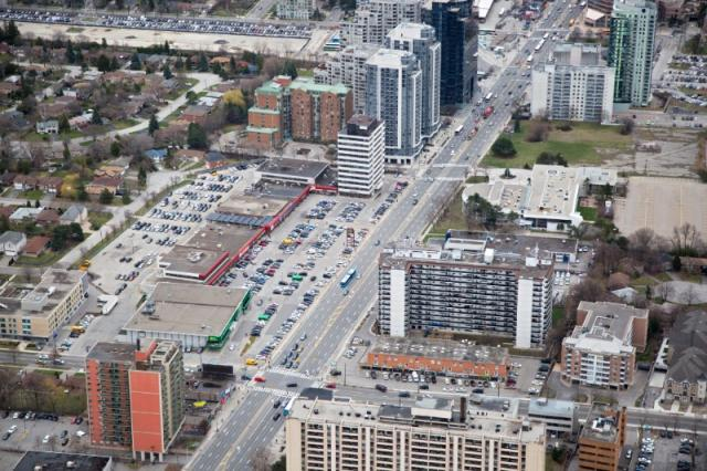 Looking southeast towards the Newtonbrook Plaza site, North York