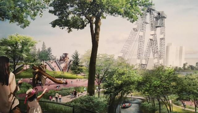 The PLFPEI project's playgrounds will be interwoven with nature. Rendering court