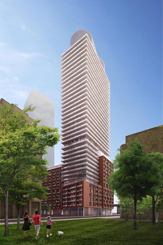 Looking towards 33 Parliament, Toronto, by architectsAlliance for Graywood Dev