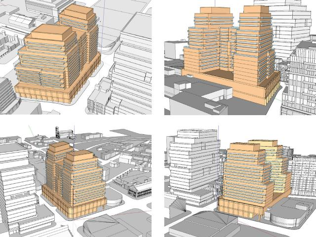 Massing study for 250 Front East, by Graziani + Corazza Architects for Greenpark