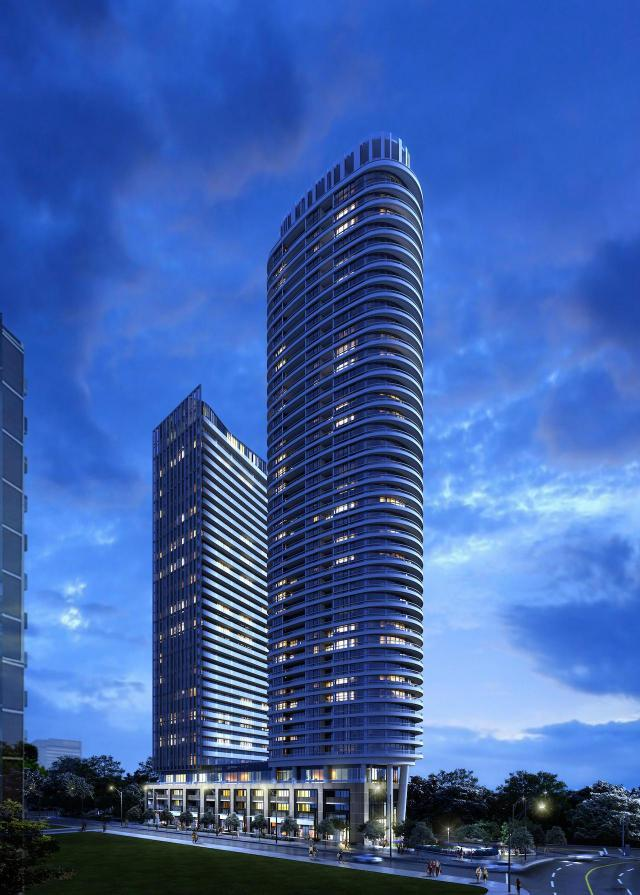Looking northwest to Via Bloor, Toronto, design by architectsAlliance for Tridel