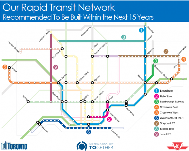 Toronto's Transit Master Plan, highlighting many of the projects being funded