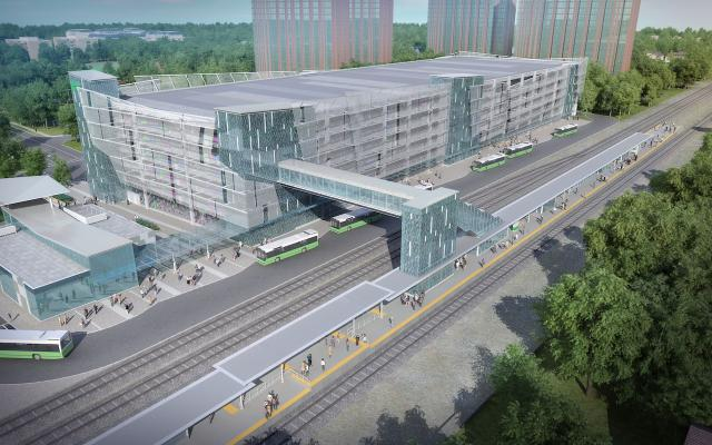 Rendering of the new parking garage and other improvements at Cooksville GO