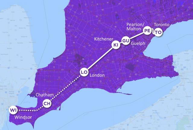 Map of the Ontario HSR project
