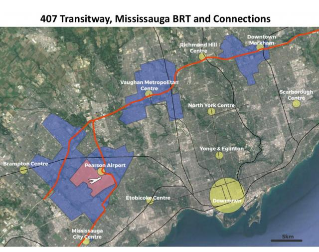 "Transit links to employment zones in ""the 905"""