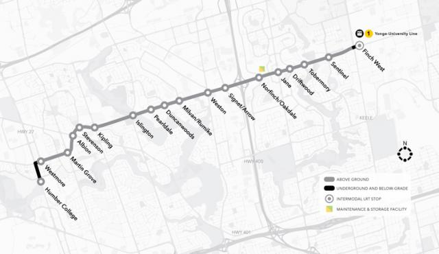 Map of Finch West LRT line