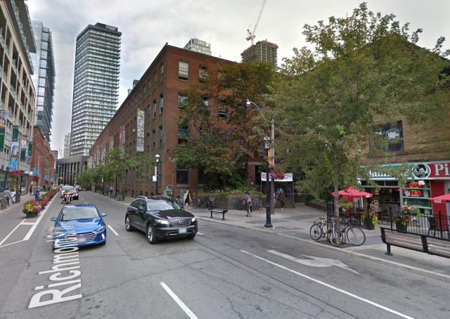 Looking east to 401 Richmond Street, Toronto, image retrieved from Google Street