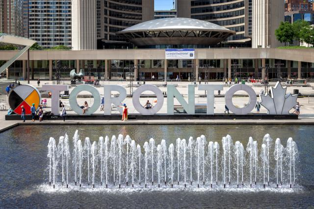 TORONTO sign, Nathan Phillips Square, National Indigenous Peoples Day