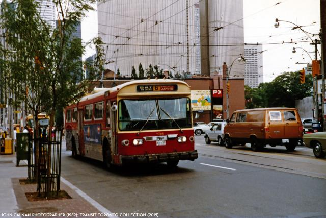 TTC trolley bus on Bay Street, 1980s