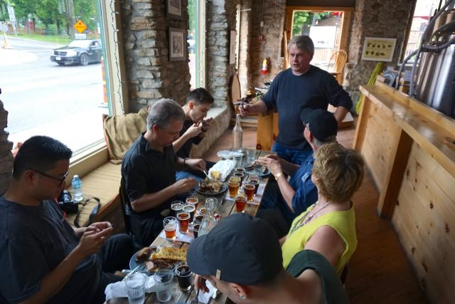 Enjoying lunch and a flight of beer at the Gananoque Brewing Company, image by C