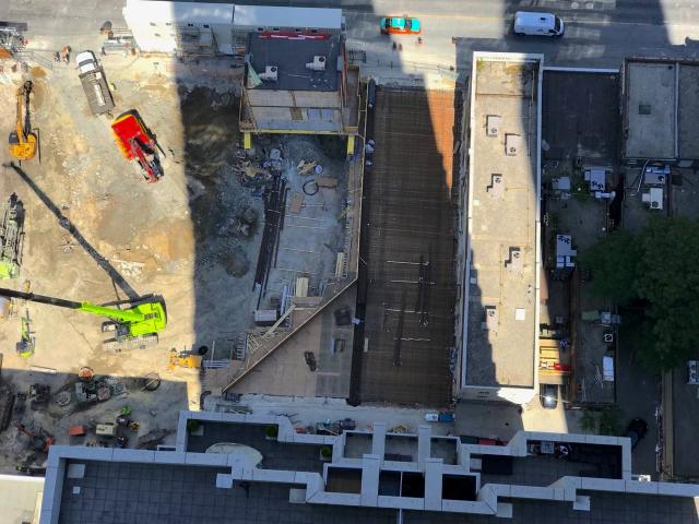More steel rebar is placed in advance of the concrete pour at Mizrahi's The One