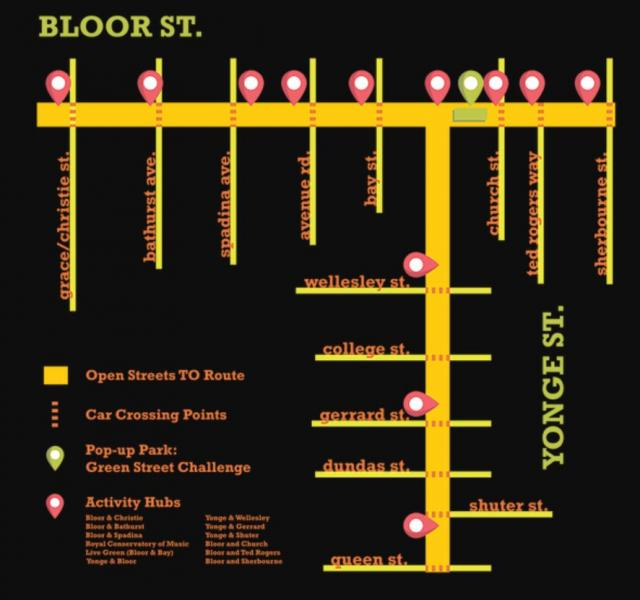 Open Streets TO, Toronto, Yonge, Bloor, paved park, pop-up