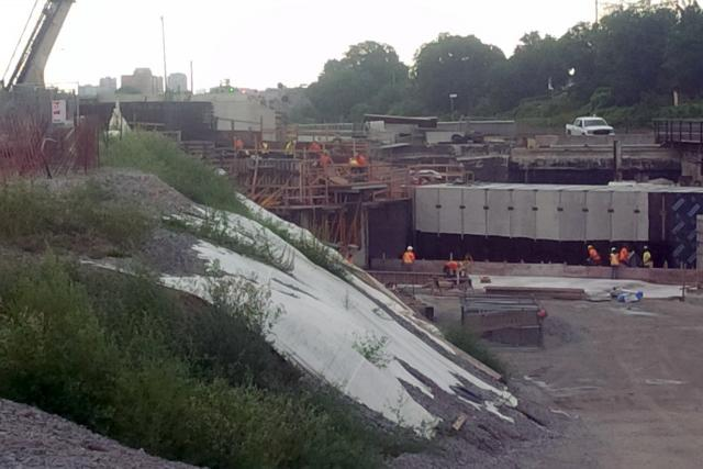 Tunnel under the railway tracks at Mount Dennis under construction