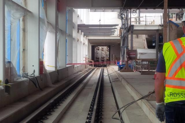 Platform of Mount Dennis LRT Station under construction