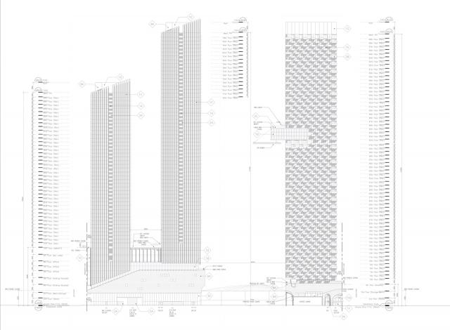 South elevation of Cumberland Square, with tower of 50, 66, and 69 storeys west