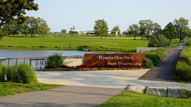 Downsview Park's official welcoming sign at the pond, image by Craig White