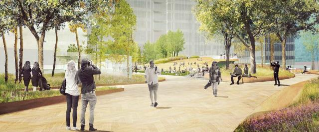 A rendering of the park designed by Public Work, Ivanhoé Cambridge, CIBC Square