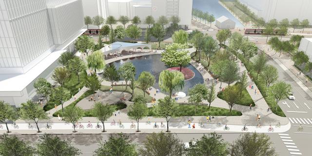 Looking south to York Street Park, image by Claude Cormier + Associés