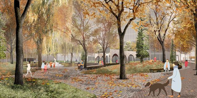 Fall scene at York Street Park, Toronto, image by Claude Cormier + Associés