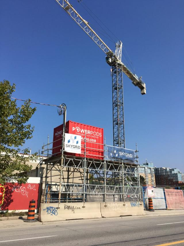 A crane up at the Litho site, October 9, Toronto