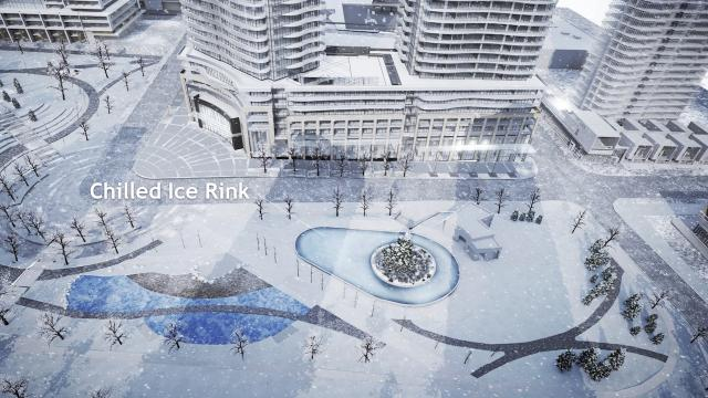 The rink area by winter (spray pool by summer), image courtesy of Edward Skira