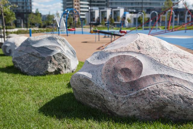 Ebb and Flow by Michael Belmore in two locations at Woodsy Park, Toronto