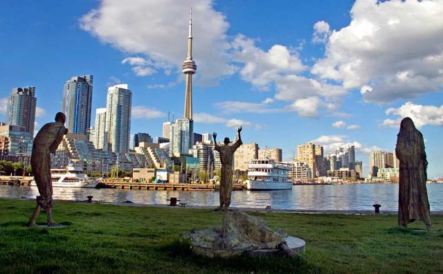 Three statues at Ireland Park, image courtesy of Heritage Toronto