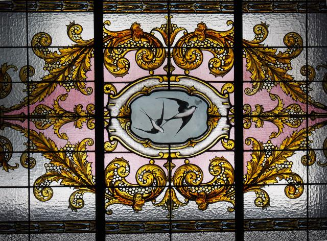 The stained glass laylight in the Keg Mansion, image courtesy of Heritage Toront