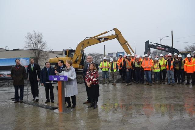 Premier Wynne at the launch of construction of Keelesdale LRT Station