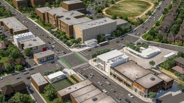 Aerial-view rendering of Keelesdale Station on the future Crosstown LRT line