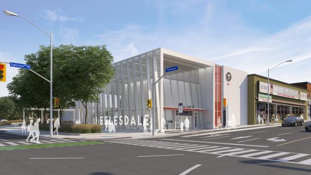 Rendering of the main entrance to Keelesdale LRT Station