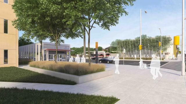 Rendering of the secondary entrance to Keelesdale LRT Station
