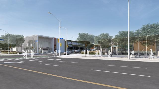 Rendering of the tertiary entrance to Keelesdale LRT Station