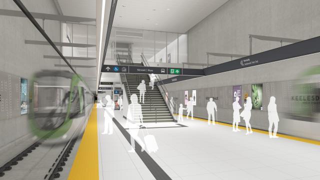 Rendering of track level at Keelesdale LRT Station