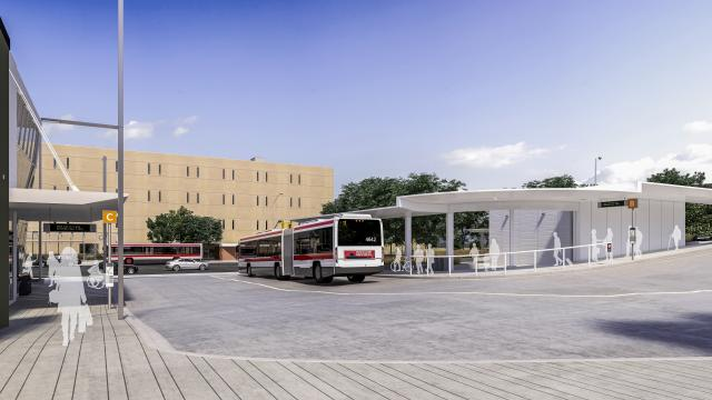 Rendering of future TTC bus terminal at Keelesdale LRT Station