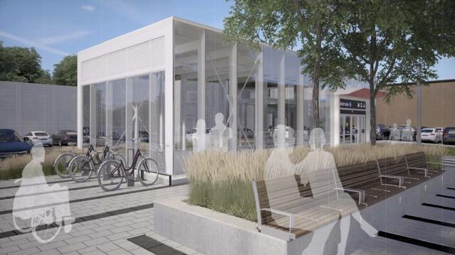 Rendering of the secondary entrance to Cedarvale Crosstown LRT Station