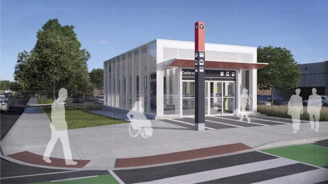 Rendering of the third entrance to Cedarvale Crosstown LRT Station