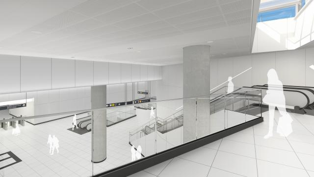 Rendering of the concourse level at Cedarvale Crosstown LRT Station, Toronto