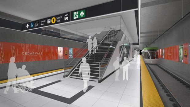 Rendering of the platform level at Cedarvale Crosstown LRT Station, Toronto
