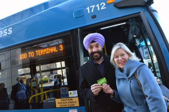 MP Bains and Mississauga Mayor Bonnie Crombie beside a MiWay bus