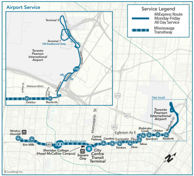 Map illustrating MiWay MiExpress route 100 Airport express