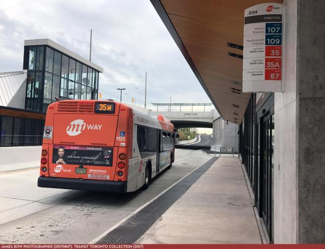 MiWay bus at Orbitor Station on the Mississauga Transitway