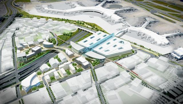 Early rendering of the proposed Pearson transit hub