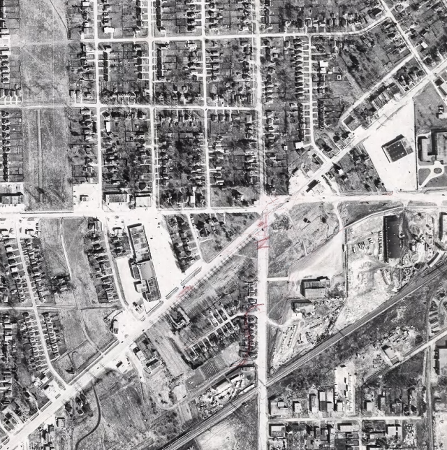 The intersection from above in 1959, a year before 6 points construction started