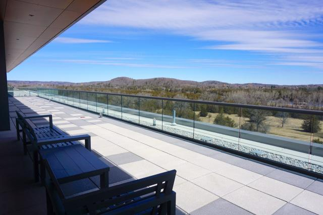 Looking northeast from sheltered seating area atop Batawa Lofts, image by Craig