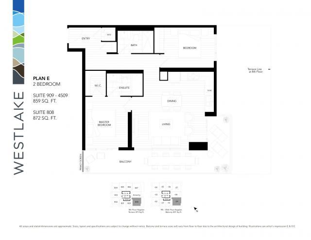 Westlake Floorplan Plan E Suite 909 4509 Urban Toronto