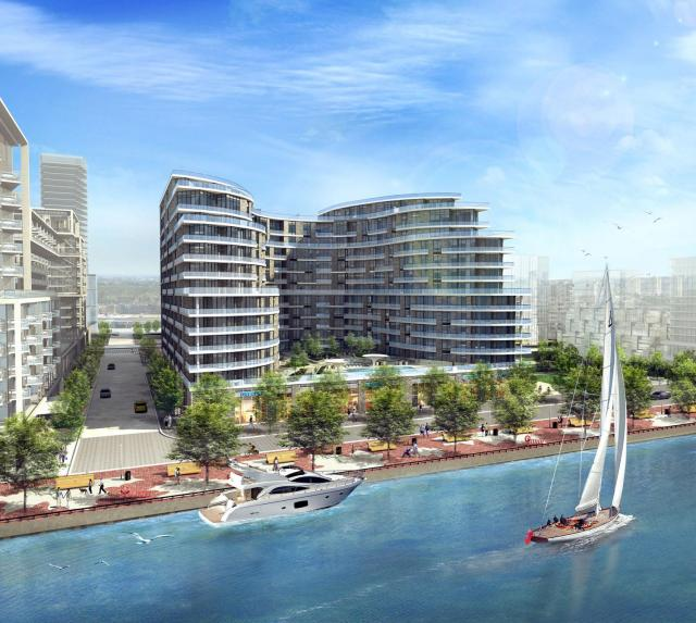 Exterior and waterfront promenade, Aquavista at Bayside, design by Arquitectonica for Tridel